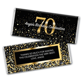 Personalized Milestone Elegant Birthday Bash 70 Chocolate Bar & Wrapper