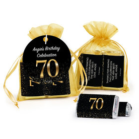 Personalized Elegant 70th Birthday Bash Hershey's Miniatures in Organza Bags with Gift Tag