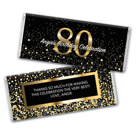 Personalized Milestone Elegant Birthday Bash 80 Chocolate Bar & Wrapper