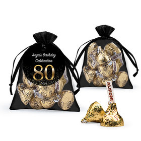 Personalized Elegant 80th Birthday Bash Hershey's Kisses in Organza Bags with Gift Tag