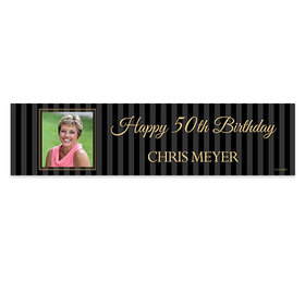 Personalized Birthday 50th Pinstripe Photo Banner