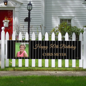 Personalized Birthday 50th Pinstripe Photo 5 Ft. Banner