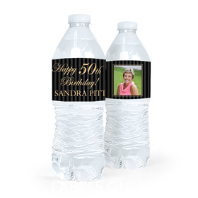 Personalized Milestones Birthday Photo 50th Water Bottle Sticker Labels (5 Labels)