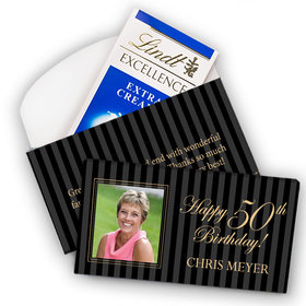 Deluxe Personalized Milestone 50th Birthday Photo Pinstripes Lindt Chocolate Bar in Gift Box (3.5oz)