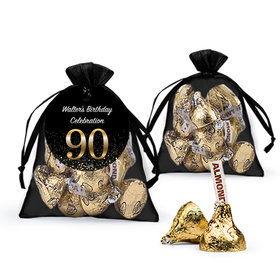 Personalized Elegant 90th Birthday Bash Hershey's Kisses in Organza Bags with Gift Tag
