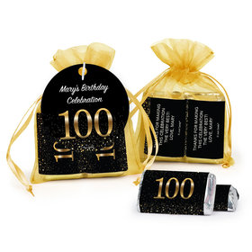 Personalized Elegant 100th Birthday Bash Hershey's Miniatures in Organza Bags with Gift Tag