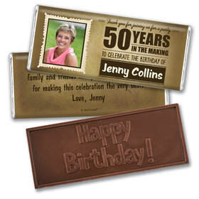 Personalized Milestone 50th Birthday Years to Perfection Embossed Chocolate Bar
