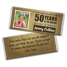 Personalized Milestone 50th Birthday Years to Perfection Chocolate Bar Wrappers