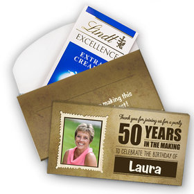 Deluxe Personalized Milestone 50th Birthday Years in the Making Lindt Chocolate Bar in Gift Box (3.5oz)