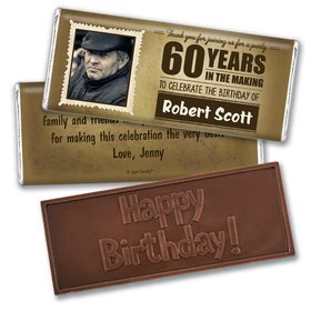 Personalized Milestone 60th Birthday Years to Perfection Embossed Chocolate Bar