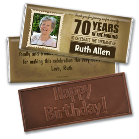 Personalized Milestone 70th Birthday Years to Perfection Embossed Chocolate Bar