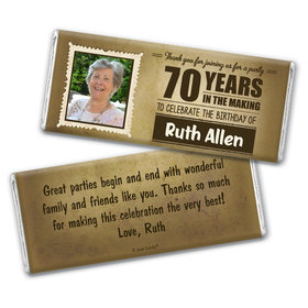 Personalized Milestone 70th Birthday Years to Perfection Chocolate Bar Wrappers