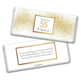 Personalized Birthday Glimmering Gold Chocolate Bars
