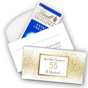 Deluxe Personalized Birthday Glimmering Gold Lindt Chocolate Bar in Gift Box (3.5oz)