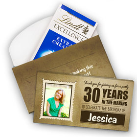 Deluxe Personalized Milestone 30th Birthday Years in the Making Lindt Chocolate Bar in Gift Box (3.5oz)