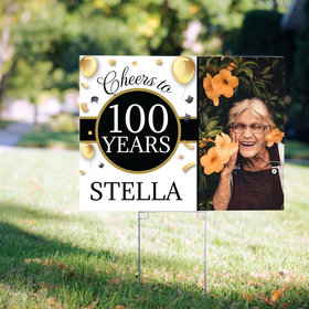 100th Birthday Yard Sign Personalized - Milestone Cheers with Photo