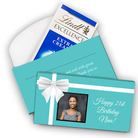 Deluxe Personalized Birthday Tiffany Style Bow Photo Lindt Chocolate Bar in Gift Box (3.5oz)