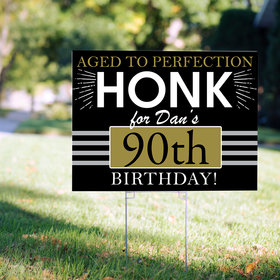 90th Birthday Yard Sign Personalized - Aged to Perfection