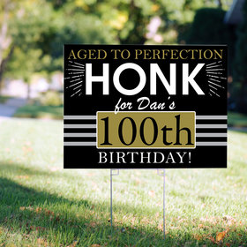 100th Birthday Yard Sign Personalized - Aged to Perfection