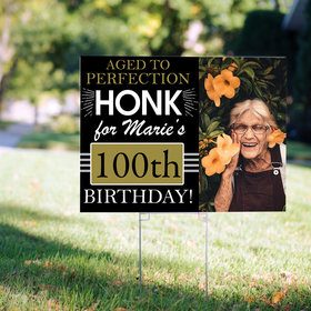 100th Birthday Yard Sign Personalized - Aged to Perfection with Photo