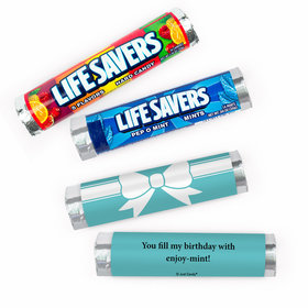 Personalized Birthday Tiffany Style Bow Lifesavers Rolls (20 Rolls)