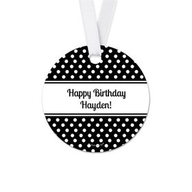 Personalized Round Polka Dots Birthday Favor Gift Tags (20 Pack)