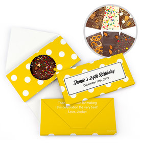 Personalized Birthday Polka Dots Gourmet Infused Belgian Chocolate Bars (3.5oz)