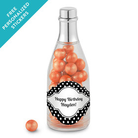 Birthday Personalized Champagne Bottle Polka Dot (25 Pack)