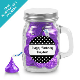 Birthday Personalized Mini Mason Jar Polka Dot (12 Pack)