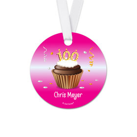 Personalized Round Birthday 100th Birthday Cupcake Favor Gift Tags (20 Pack)