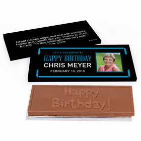Deluxe Personalized Adult Birthday Celebrate Photo Chocolate Bar in Gift Box