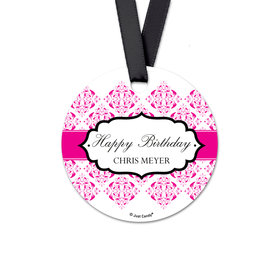 Personalized Round Birthday Baroque Monogram Favor Gift Tags (20 Pack)