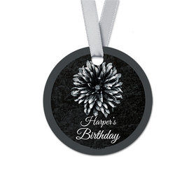 Personalized Round Flower Birthday Favor Gift Tags (20 Pack)