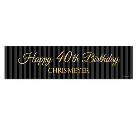 Personalized Birthday 40th Regal Stripes 5 Ft. Banner