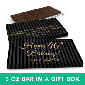 Deluxe Personalized Birthday 40th Milestones Stripes Belgian Chocolate Bar in Gift Box (3oz Bar)