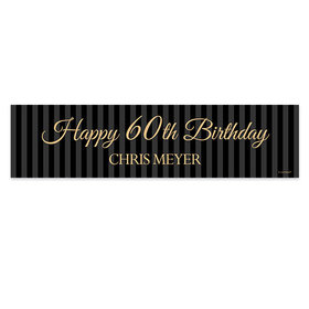 Personalized Birthday 60th Regal Stripes 5 Ft. Banner