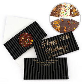Personalized Milestone Birthday 70th Formal Stripes Gourmet Infused Belgian Chocolate Bars (3.5oz)