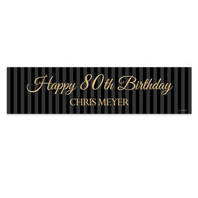 Personalized Birthday 80th Regal Stripes Banner