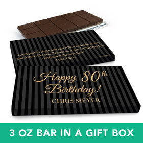Deluxe Personalized Birthday 80th Milestones Stripes Belgian Chocolate Bar in Gift Box (3oz Bar)