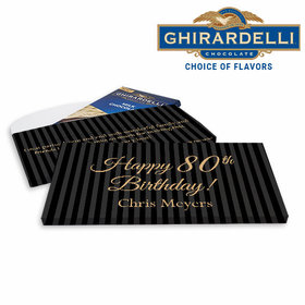 Deluxe Personalized Birthday 80th Stripes Ghirardelli Chocolate Bar in Gift Box