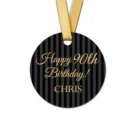 Personalized Round 90th Birthday Regal Stripes Favor Gift Tags (20 Pack)