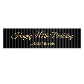 Personalized Birthday 90th Regal Stripes 5 Ft. Banner