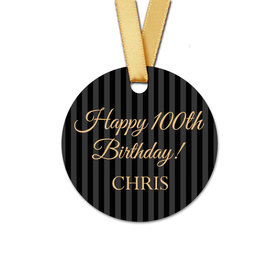 Personalized Round 100th Birthday Regal Stripes Favor Gift Tags (20 Pack)