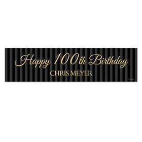 Personalized Birthday 100th Regal Stripes 5 Ft. Banner
