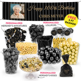 Personalized Milestone 100th Birthday Pinstripes Deluxe Candy Buffet