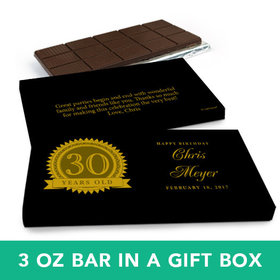 Deluxe Personalized Birthday 30th Milestones Seal Belgian Chocolate Bar in Gift Box (3oz Bar)
