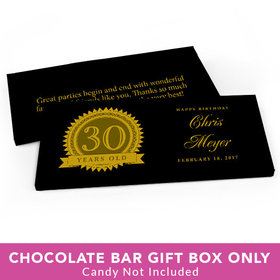 Deluxe Personalized Birthday 30th Milestones Seal Candy Bar Favor Box