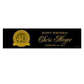 Personalized Birthday 40th Certificate Banner