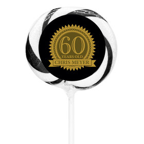 """Milestones Personalized 3"""" Whirly Pop 60th Birthday Favors (24 Pack)"""