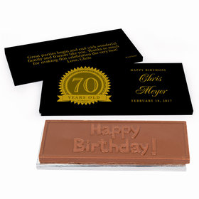 Deluxe Personalized Birthday 70th Milestones Seal Chocolate Bar In Gift Box